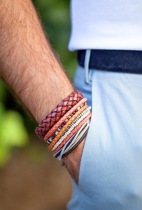 Bracelet Homme Bleu Et Blanc En Tissu Avec Pendentif Argenté De La  ~ Bracelet En Bois Homme