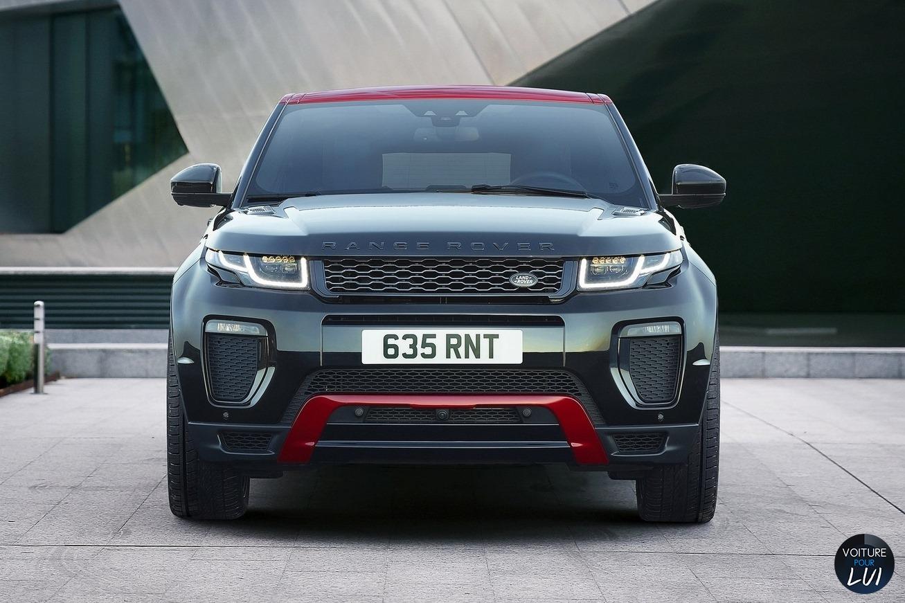 Land-Rover  RANGE ROVER EVOQUE EMBER EDITION 2017   Noir Rouge Avant Face  http://www.voiturepourlui.com/images/Land-Rover//Exterieur/Land_Rover_Range_Rover_Evoque_Ember_Edition_2017_014_noir_rouge_avant_face.jpg