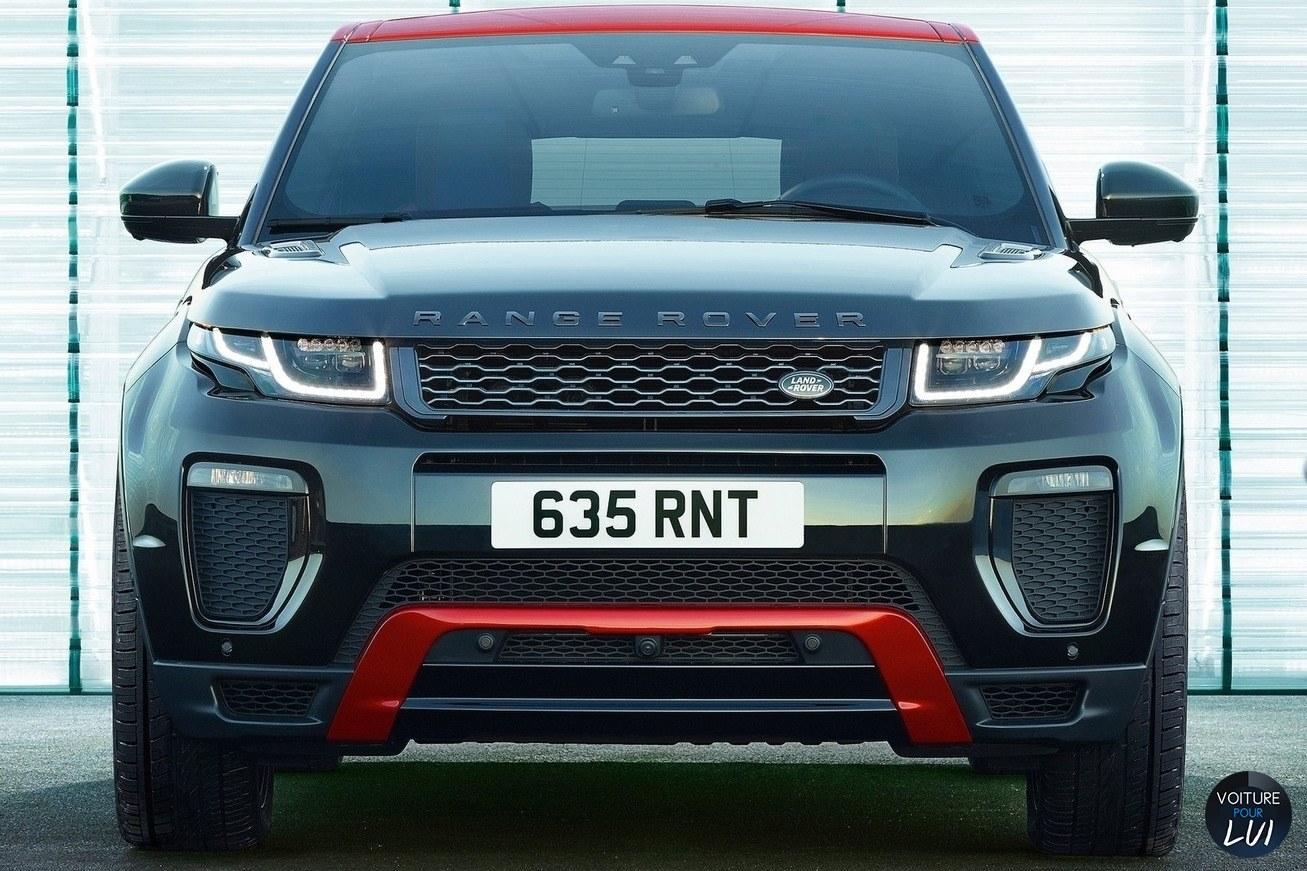 Land-Rover  RANGE ROVER EVOQUE EMBER EDITION 2017   Noir Rouge Avant Face  http://www.voiturepourlui.com/images/Land-Rover//Exterieur/Land_Rover_Range_Rover_Evoque_Ember_Edition_2017_015_noir_rouge_avant_face.jpg