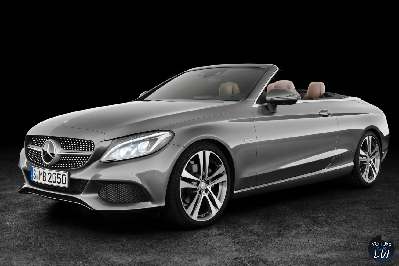 photo mercedes classe c cabriolet 2017 gris avant face decapotable. Black Bedroom Furniture Sets. Home Design Ideas