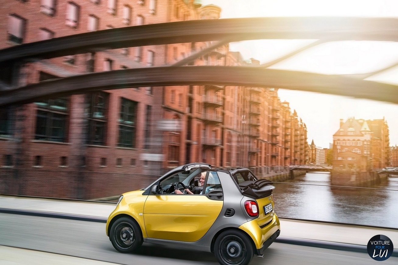 image smart fortwo cabrio 2016 jaune gris decapotable cote. Black Bedroom Furniture Sets. Home Design Ideas