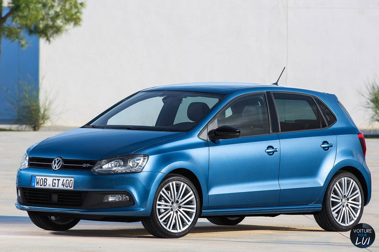 clich volkswagen polo 2014 bleu. Black Bedroom Furniture Sets. Home Design Ideas