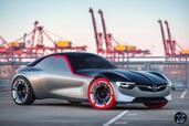 Opel GT Concept 2016  photo 5 http://www.voiturepourlui.com/images/Opel/GT-Concept-2016/Exterieur/Opel_GT_Concept_2016_005_avant_gris_rouge_roue_jante_pneu_cote.jpg